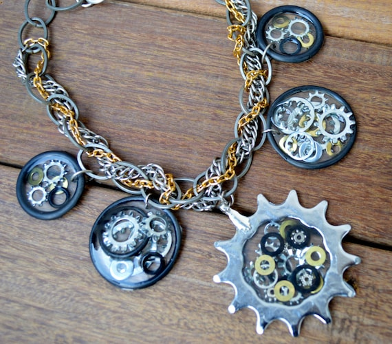 Bicycle gear necklace, bike jewelry at it's finest