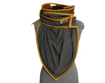 grey triangular scarf with mustard yellow, giant scarf, cuddly scarf, scarf