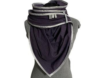Purple jersey triangle scarf, jersey scarf, purple, giant towel, XXL, cuddly towel, triangular towel