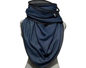 Alpine fleece triangle scarf, fleece cloth, denim blue, dark blue, giant towel, cuddly towel, XXL, neck scarf, wrap cloth, winter scarf