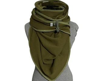 Olive triangular scarf, green alpine fleece cloth, scarf, sweat cloth, giant scarf, cuddly cloth, forest green, cuddly cloth
