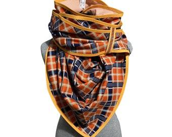 Orange triangle cloth, plaid reversible cloth, cotton cloth, ladies' cloth, giant cloth, XXL, 2in1, giant cloth, wrapcloth,