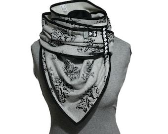 Roses triangle towel, cotton cuddly towel, grey mottled, neck scarf, giant towel, cuddly towel, XXL, sweat scarf, wrap cloth,