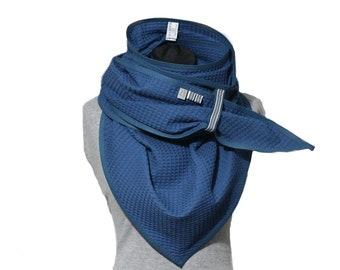 blue triangular scarf, jeans blue waffle lpique cloth, giant scarf, cotton scarf, scarf, XXL, changing cloth