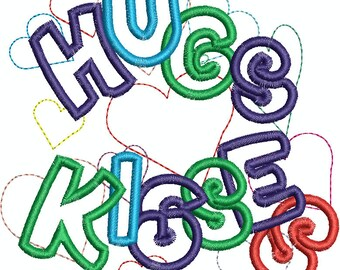 Hugs and Kisses Machine Embroidery Design  Applique and Fill 045