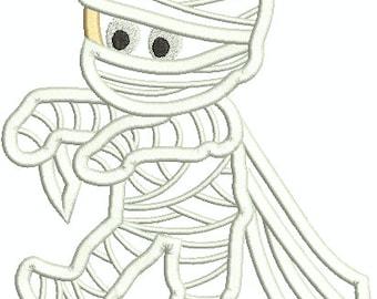 Cute Mummy Embroidery Design,  Halloween Mummy, Machine Embroidery Design 338