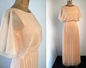1970s XS Peach Chiffon Pleated Maxi Dress XS Angel Drape with Cold Shoulder