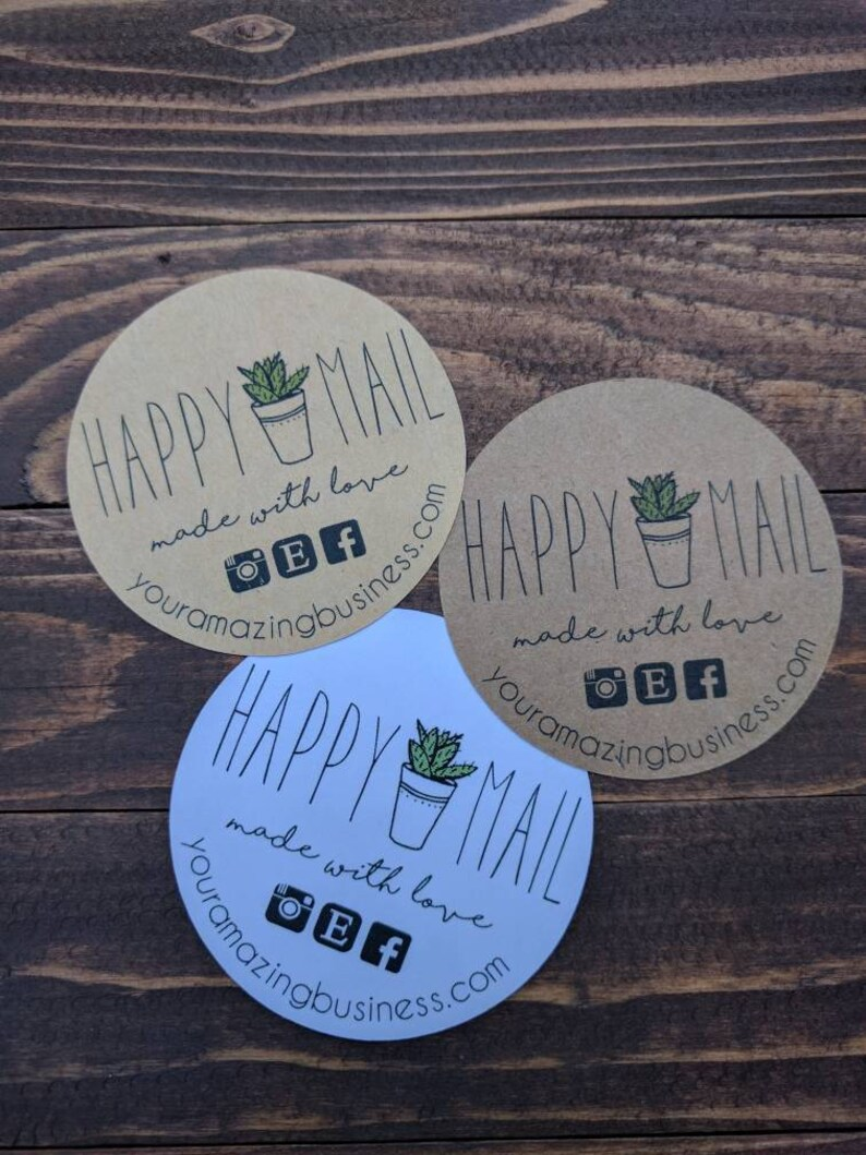 Stickers custom happy mail succulent stickers happy mail stickers small business stickers custom stickers personalized stickers