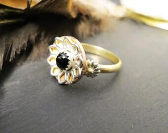 Sunflower Memorial Hair or Pet Ash Ring