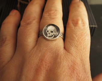 Memento Mori Miniature Watercolor Skull Ring