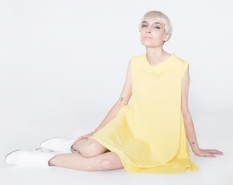 Yellow Mod Dress, Swing Vintage Style Dress, Yellow Swing Dress, Babydoll Yellow Dress, Smock Dress, Soft Yellow Vintage, Light Yellow Mod