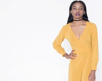 baa7247b3911 Mustard Yellow Jumpsuit with Flared Pants