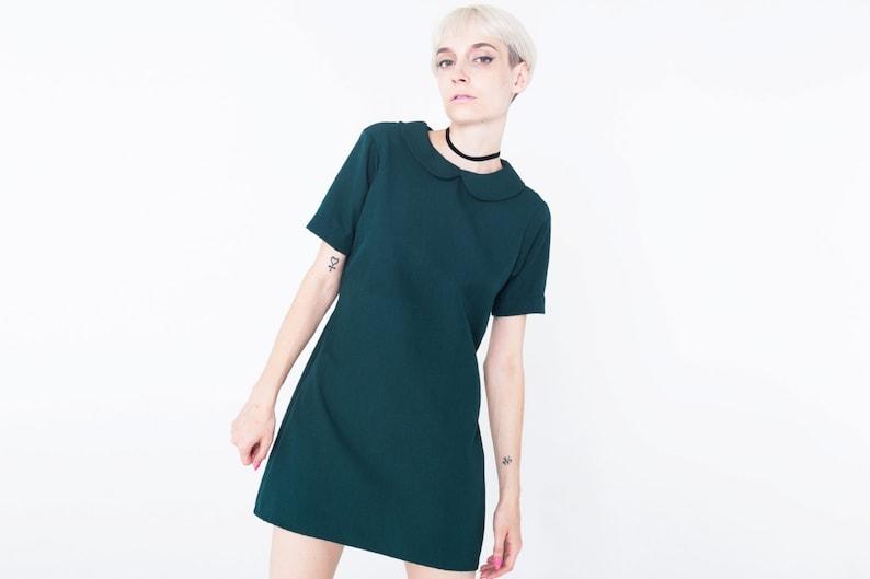 ebab95931 Robe mod vert, col Claudine. Vert Robe col Claudine, 60 's vert robe, robe  de 1960 's vert avec col rond, robe col rétro