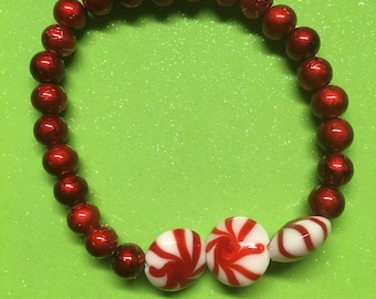 Peppermint & red bracelet