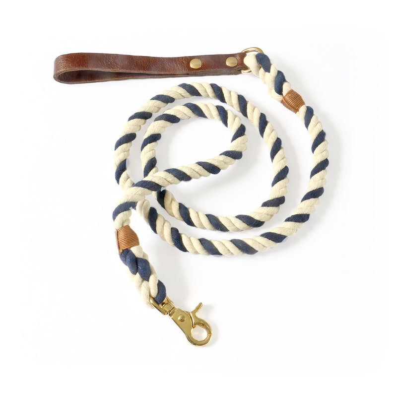 SET Dog Collar and Leash Leather Dog Collar and Leash Blue White Dog Collar Set Gold Brass Hardware Dog Collar