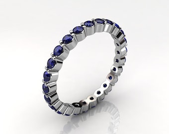 Two Prong Round Blue Sapphire Eternity Ring (.55 ct. tw.)