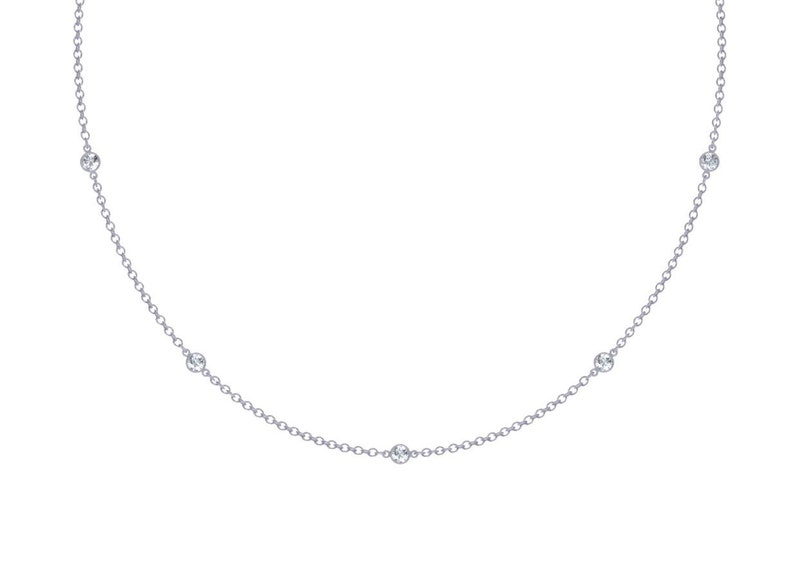 Diamonds Station Necklace With 9 Stations 0.45 ct. tw. image 0