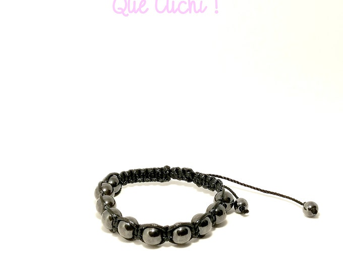 Featured listing image: Macrame bracelet with Hematite beads.