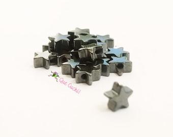 10 étoiles d'Hématite de 1 cm pour fabriquer des bijoux.