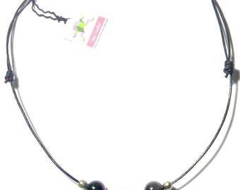 Collier dent avec deux perles d'Obsidienne Œil Céleste