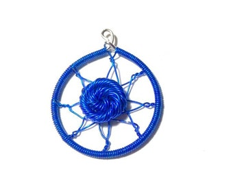 Blue dream catcher pendant
