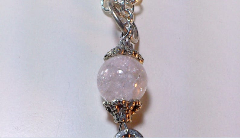 Key Pendant with a Crystal Bead Craquelet