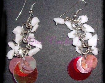 Boucles d'oreille style raisin d'Onyx blanc