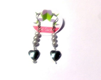 Long Earrings with pearls and Hematite's hearts