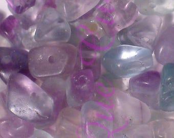 Lot de 125 perles en chips de pierres Fluorite
