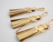 SALE - Handcrafted Metallic Gold Leather Tassels Keyring - Oro