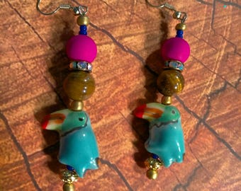 Toucan Tropical Tigere's Eye Earrings