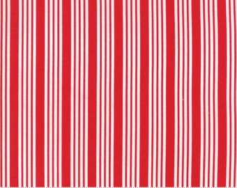 The Good Life Stripe in Red Yardage SKU# 55157-11 The Good Life by Bonnie & Camille for Moda Fabrics