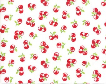The Good Life Cherries on Cream Red Yardage SKU# 55158-29 The Good Life by Bonnie & Camille for Moda Fabrics