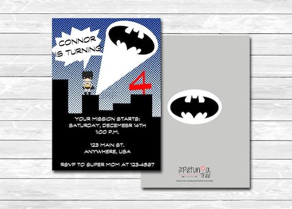 Batman Birthday Invitation Printable Custom Justice League