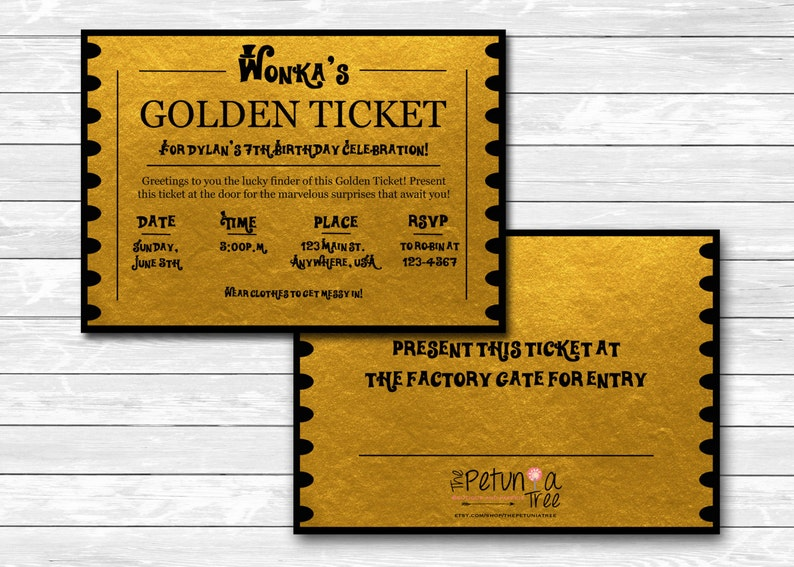 graphic about Wonka Golden Ticket Printable referred to as Willy Wonkas Golden Ticket celebration invitation, chocolate manufacturing facility, printable, custom made, gold, chocolate, entrance, back again, card, The Petunia Tree