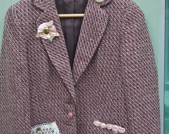 Upcycled jacket pink tweed size 10