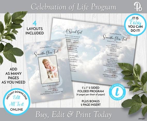 Dove Obituary Template Dove Memorial Program Dove Funeral Program Template Celebration of Life Program Dove Funeral Template