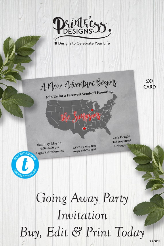 United States Map Going Away Party Invitation, Moving Party Invitation, Bon  Voyage Party Invite, Edit in Templett, ZGA 22001