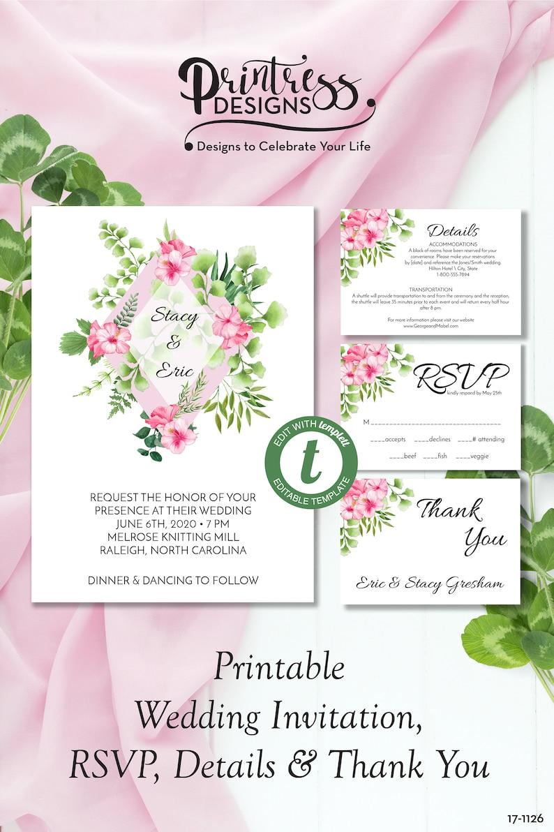 Tropical Diamond Wedding Invitation Suite Pink Floral Wedding Invite Printable Wedding Template Edit In Templett Zwa 17 1126