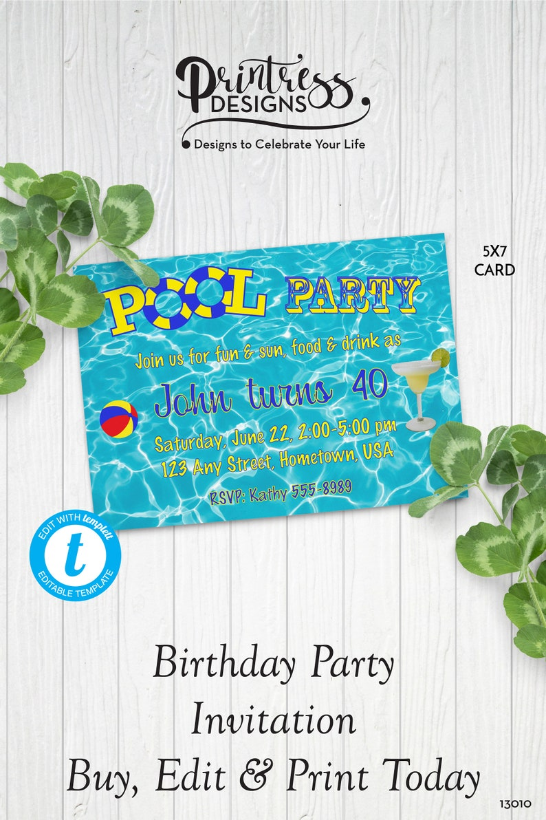 Adult Pool Party Birthday Invitation Template Pool Party