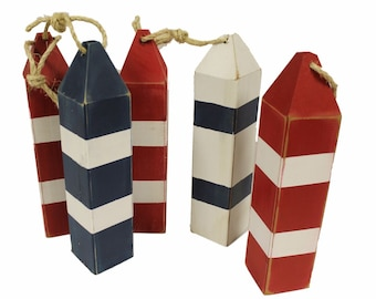 Wooden Buoy, Vintage Style Wooden Fishing Buoy Decoration  Nautical Handmade Choose Colors