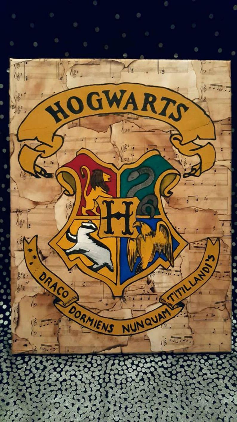 12x16 Harry Potter Hogwarts Crest Sheet Music Canvas Etsy