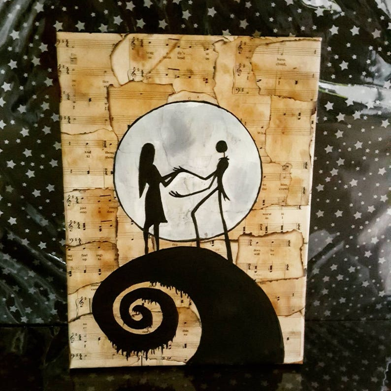 12x16 Nightmare Before Christmas Jack Skellington and Sally Sheet Music  Canvas