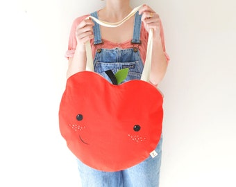 Grand sac coton pomme rouge. Tote bag coton rouge peint et brodé main- feuille et tige feutrine. Sac de plage. Cabas marché fruit.