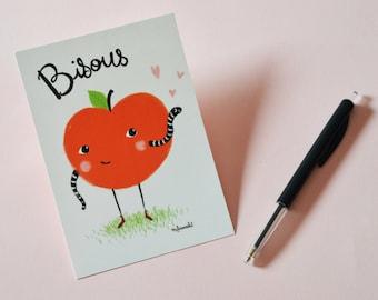 Carte Saint-Valentin - Carte Postale BISOUS  jolie pomme rouge et son asticot d'amour.