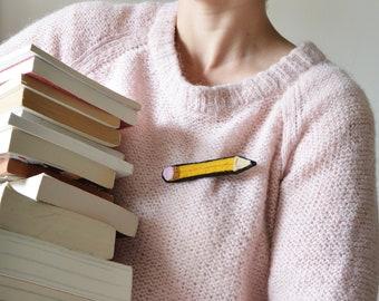 Broche crayon en velours Feutrine et perles. Bijou textile crayon appliqué brodé. Jaune Rose Doré. Cadeau maîtresse d'école.
