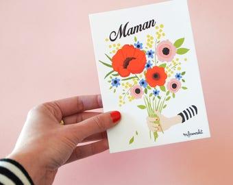 Carte Postale Maman !  Carte 14,8 cm X 10,5 cm. Bouquet de fleurs imprimé à offrir à maman pour la fête des mères.