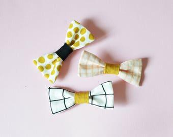 Barrette Noeud en lin et coton - 3 coloris au choix - Pois moutarde / carreaux noir&blanc / carreaux roses. 9cm x 4 cm.