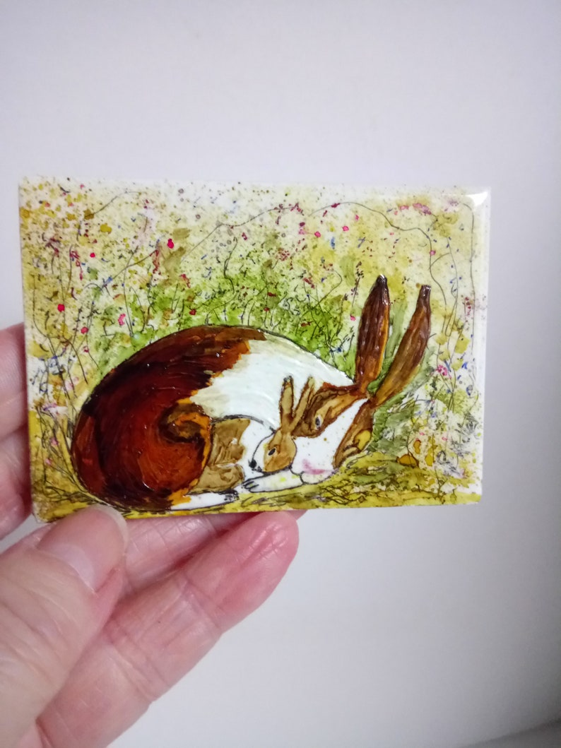 Little brown field mouse miniature painting on sea glass hand painted animal
