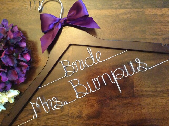 SALE Double Row/ Personalized Wedding Hanger/ Brides Hanger/ Bride/ Name Hanger/ Wedding Hanger/32 Ribbon Colors